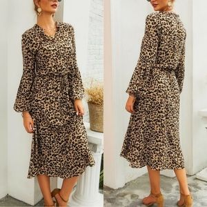 Dresses & Skirts - Tan Leopard Animal Boho Print Midi Shirt Dress
